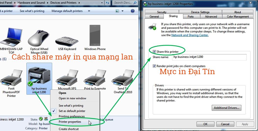 Hướng dẫn share máy in trong mạng LAN
